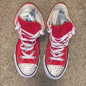 Red high top converse blinged out